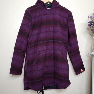 Levi's Wool Blend Hooded Purple Long Jacket